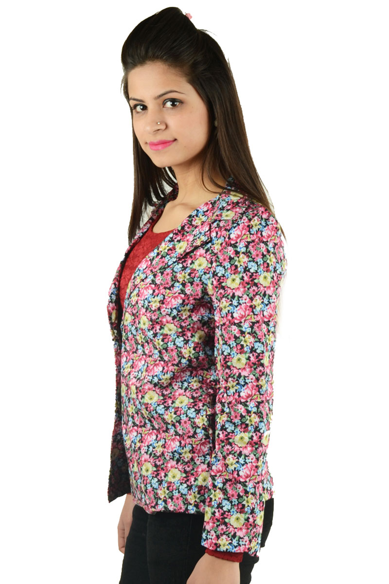DS Pink Cotton Multicolor Floral Printed Blazer