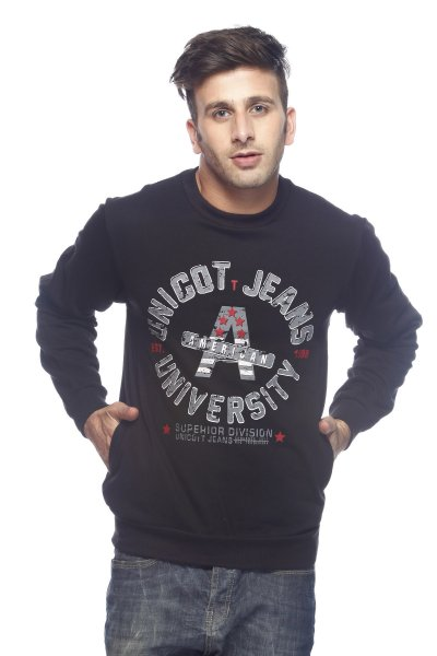 DS Black Fleece Polyester Round Printed Sweatshirt