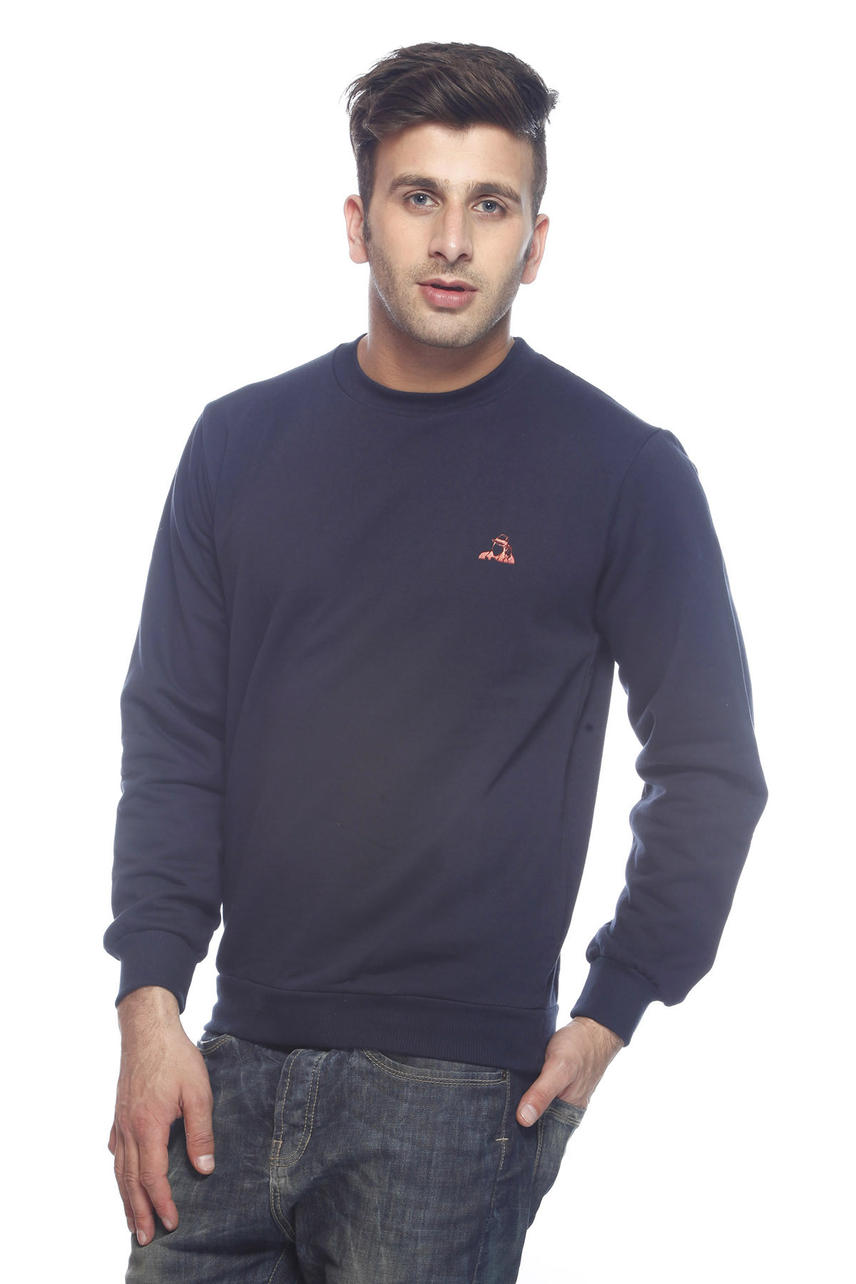 DS Solid Navy Blue Cotton Casual Sweatshirt