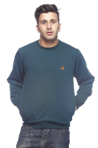 DS Solid Green Cotton Casual Sweatshirt