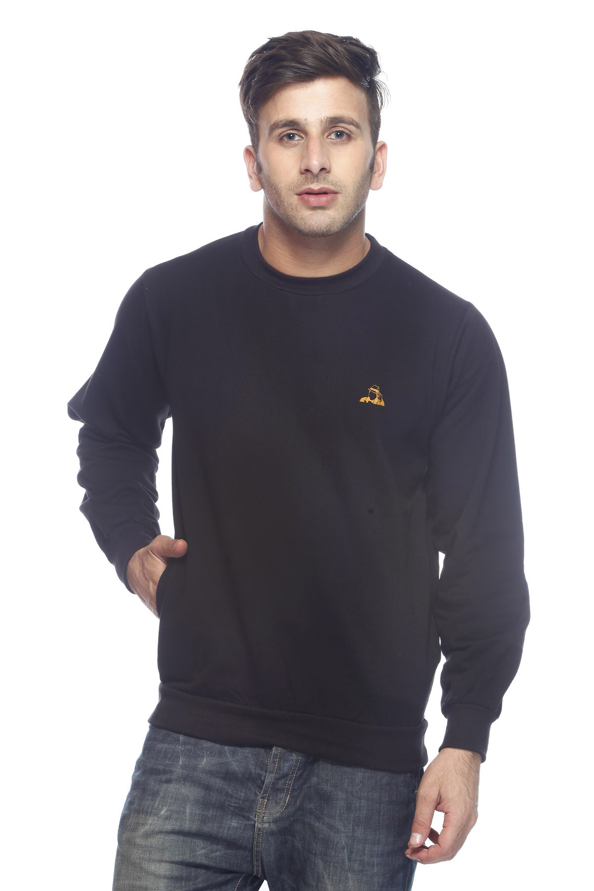 DS Solid Black Cotton Casual Sweatshirt