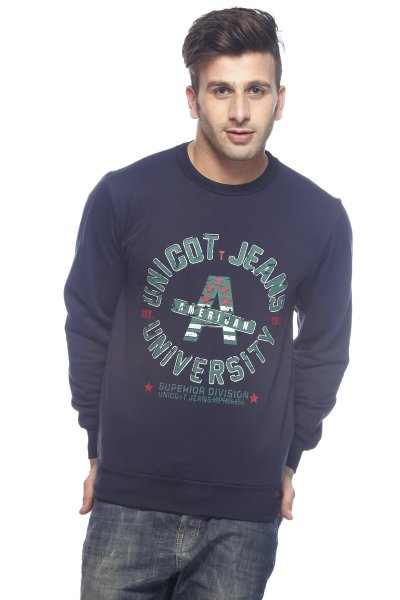 DS Navy Blue Fleece Polyester Round Printed Sweatshirt