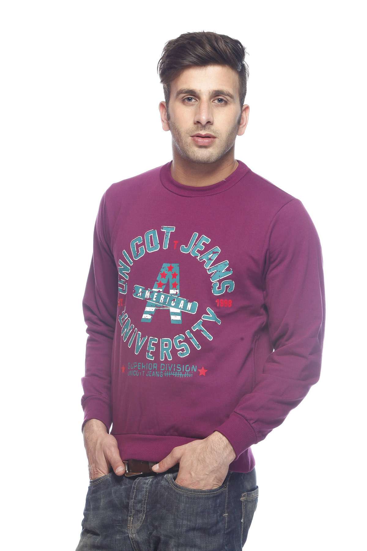 DS Purple Fleece Polyester Round Printed Sweatshirt