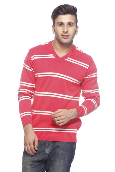 DS Pink & White Stripe Woolen Sweater