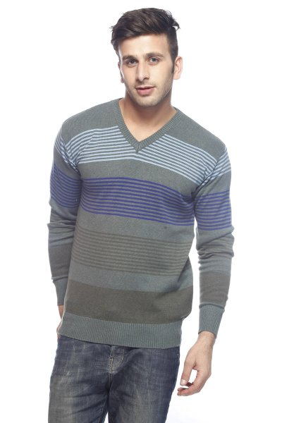DS Green & Grey Stylish Woolen Stripe Sweater