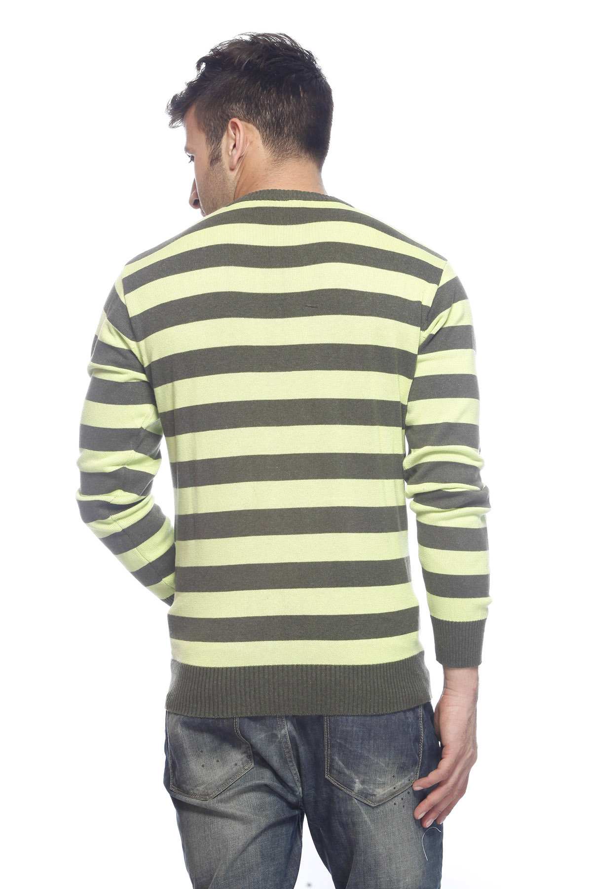 DS Green Stylish Woolen Stripe Sweater
