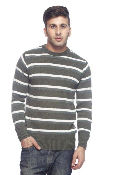 DS Green & White Stylish Woolen Stripe Sweater