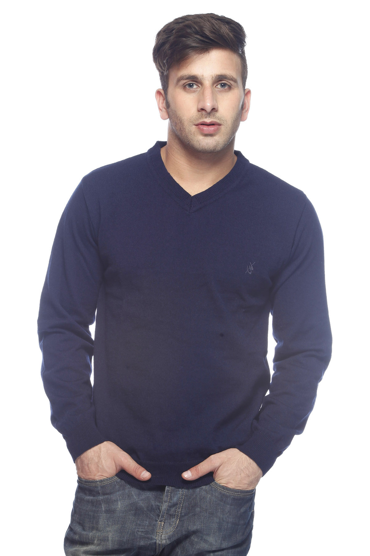 DS Navy Stylish Woolen V-Neck Sweater