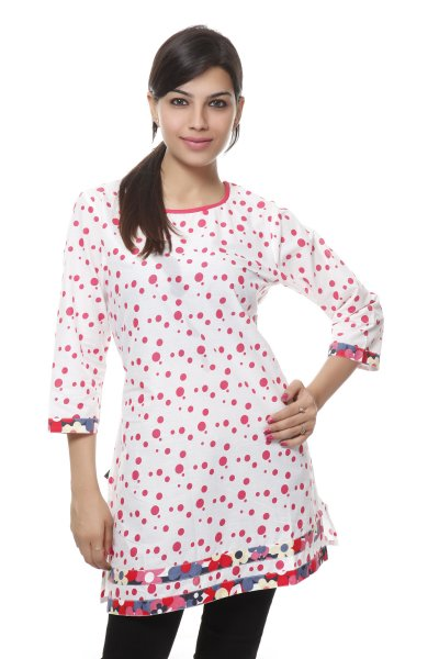 NV White and Red Cotton Attractive Kurti for Women