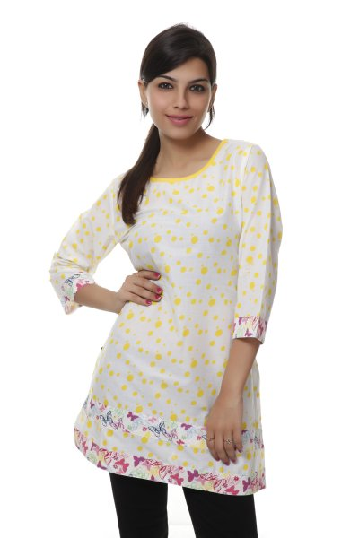 NV White and Yellow Cotton Fashionable Kurti for Women