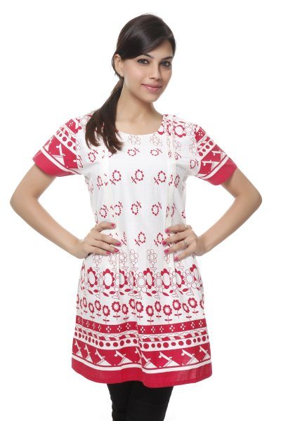 NV Pink and White Cotton Trendy Kurti for Women