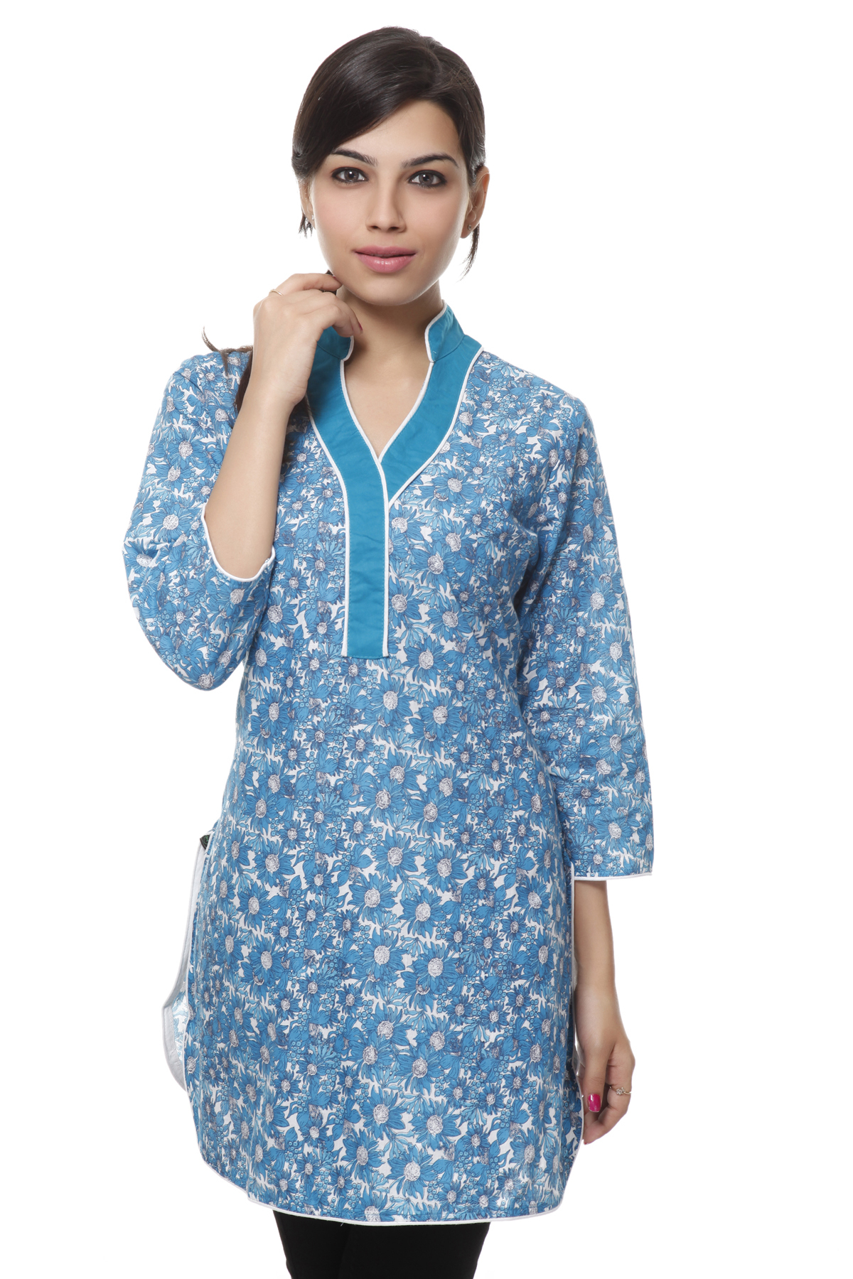 NV Turquoise Cotton floral Printed Coller Neck Kurti