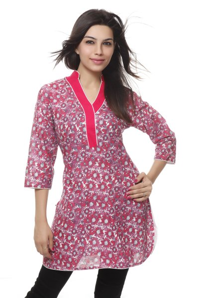 NV Red Cotton floral Printed Coller Neck Kurti