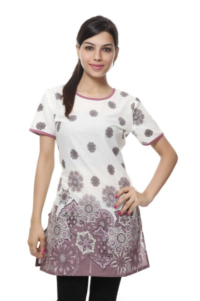 NV Pink and Cream Cotton Stylish Kurti for Women