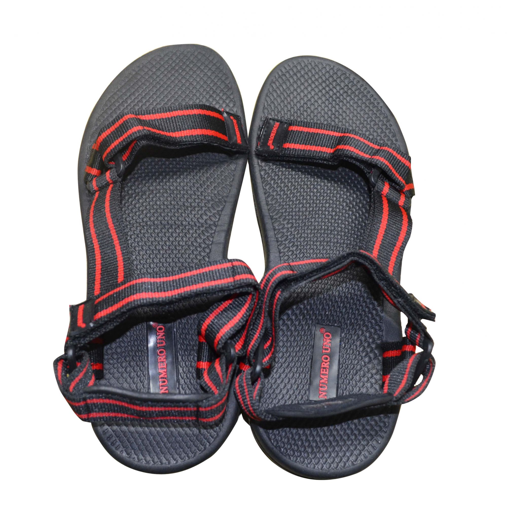 DS Red and Black Faux Leather Floater Sandal