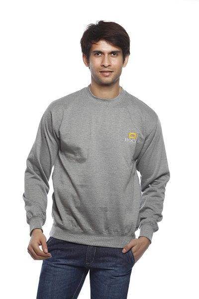 DS Solid Grey Cotton Polyester Fleece Sweatshirt