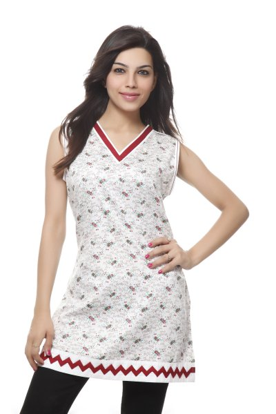 Needle Value White and Red Print Kurti