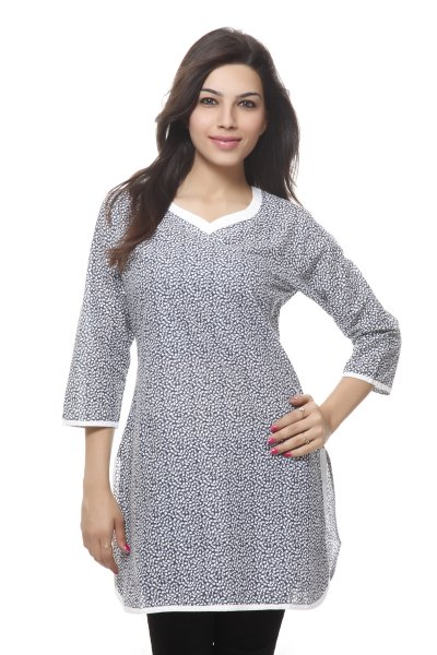 Needle Value Blue And White Floral Print Kurti