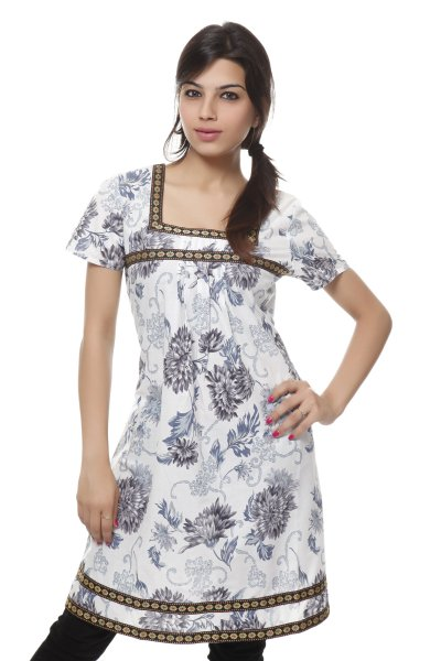 Needle Value White & Grey Latest Design Kurti