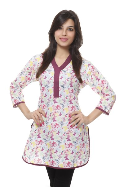Needle Value White & Pink Butter Fly Print Kurti