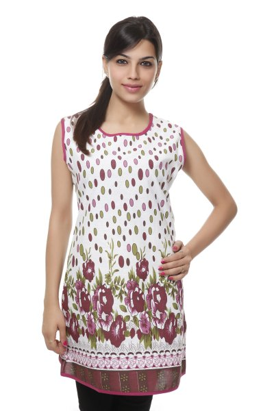 Needle Value Red White Floral Print Kurti