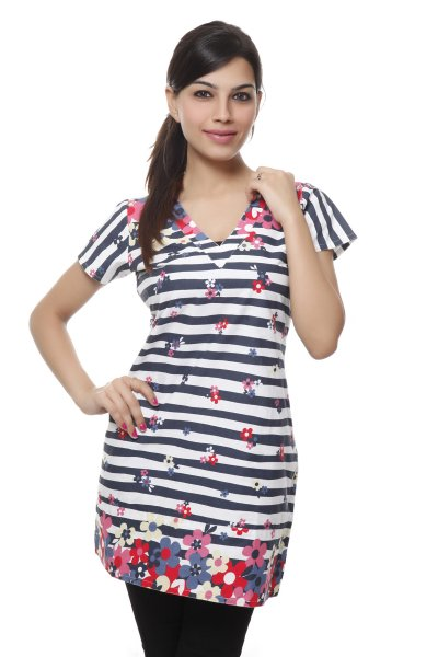 Needle Value White & Red Stylish Stripe Kurti