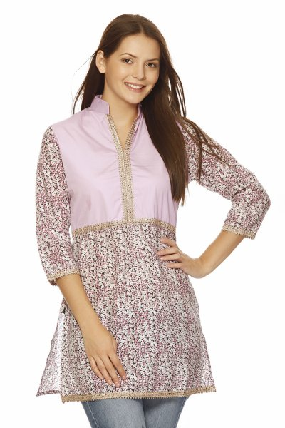 Needle Value Pink Cotton Stylish Kurti