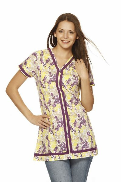 Needle Value Yellow Floral Print Stylish Kurti