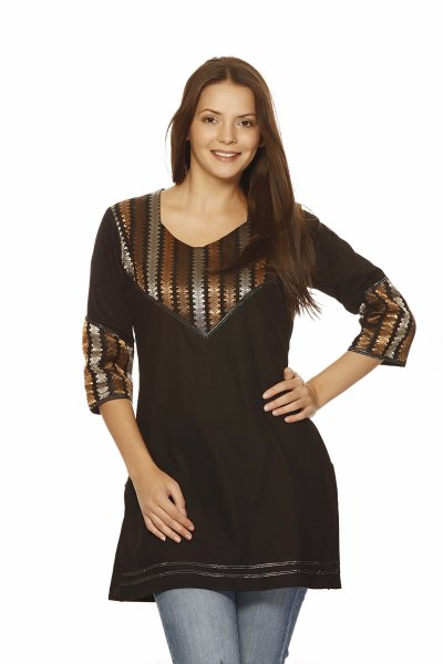 Needle Value Black Fashionable Kurti