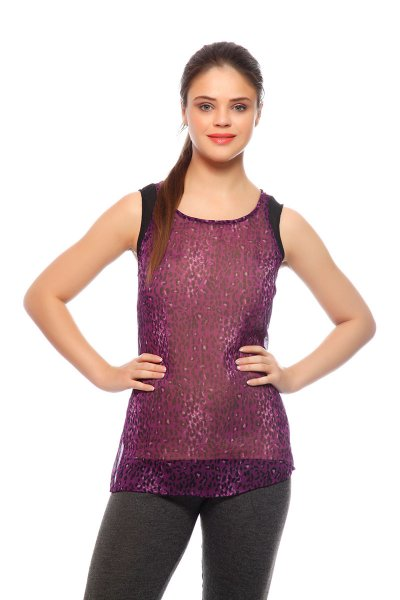 DS Violet Crepe Tiger Print Fashionable Regular Top