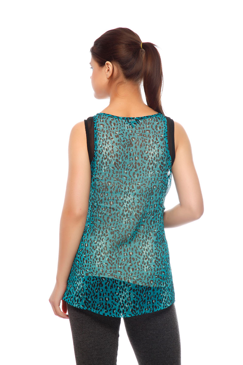 DS Green Crepe Tiger Print Fashionable Regular Top