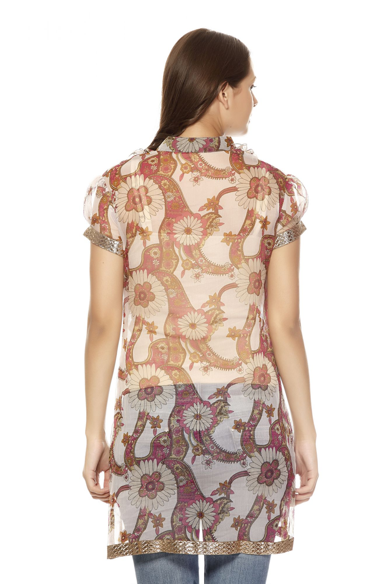 DS Pink Georgette Floral Stylish Frill Kurti