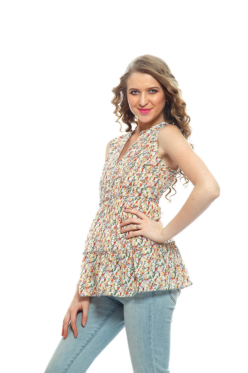 DS Yellow Multicolor  Western Wear Regular Stylish Top