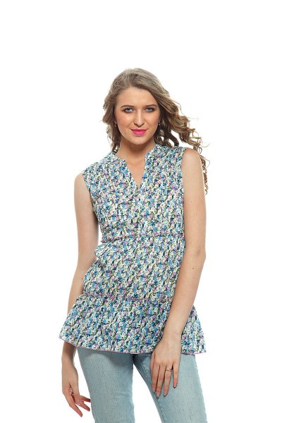 DS Blue Multicolor  Western Wear Regular Stylish Top