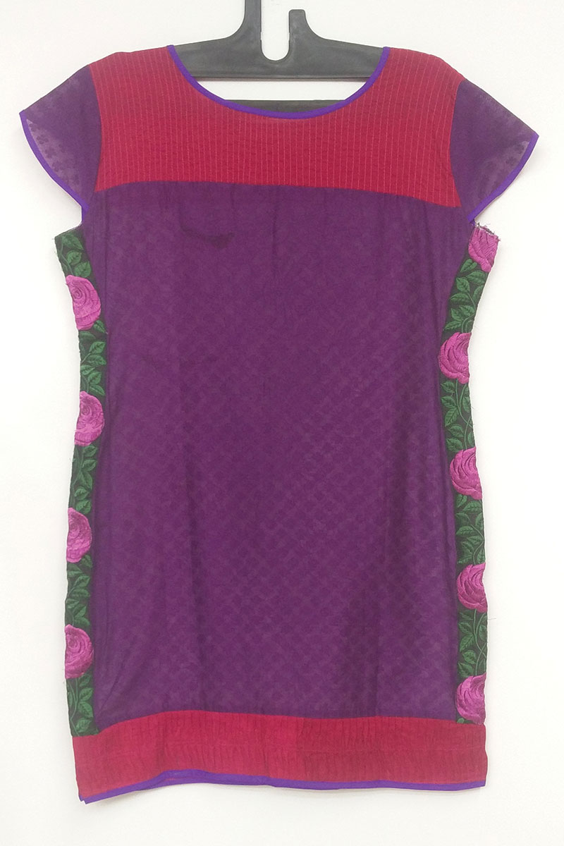 DS White and Pink Cotton Stylish A-line Kurti