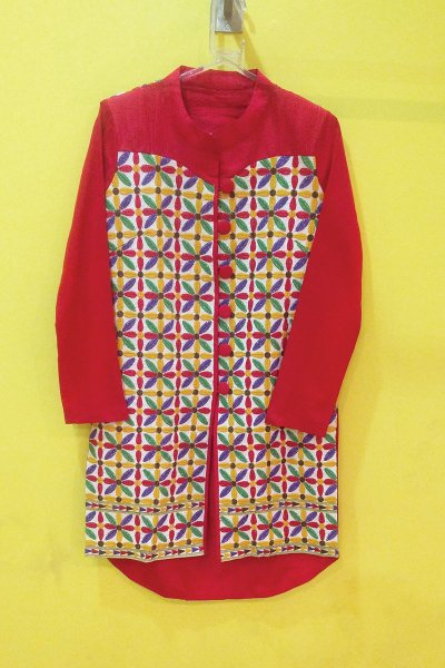 DS Red Cotton New Jacket Style Kurti