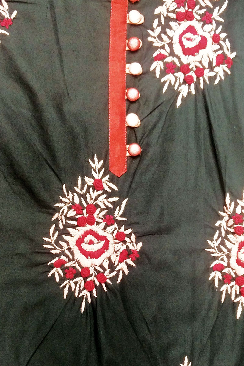 DS Black Cotton Beautiful Short Length Kurti