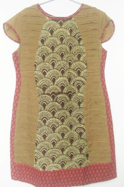 DS Beige & Brown Cotton Fashionable Medium Length Kurti
