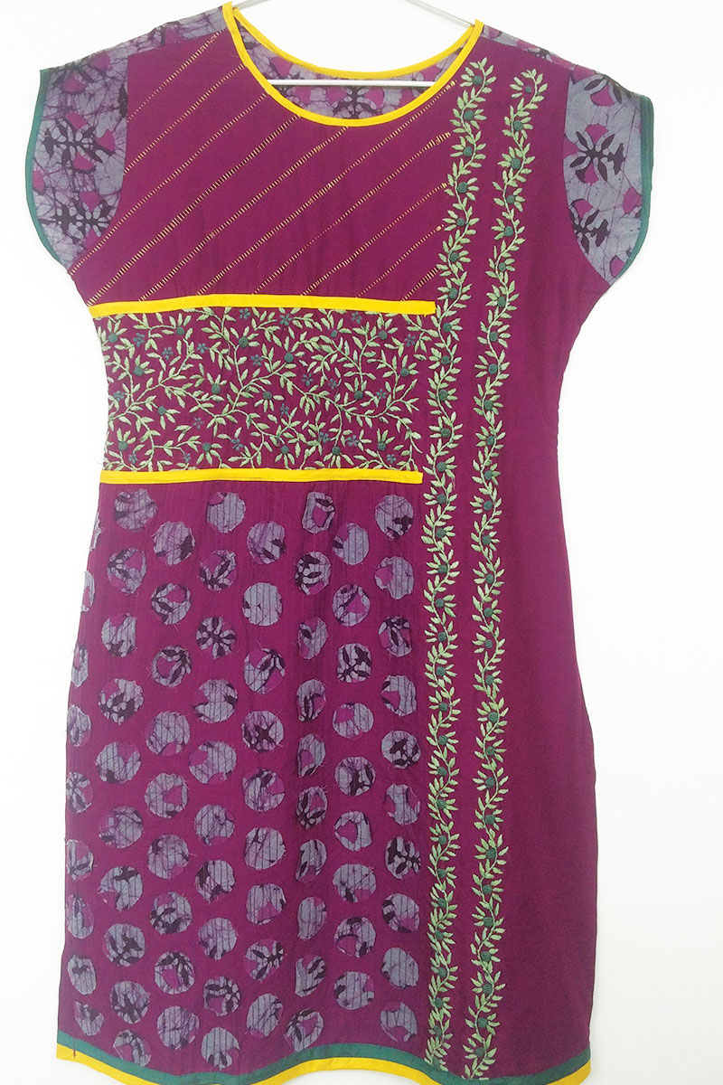 DS Purple Cotton Paisley Print Stylish Latest New Kurti