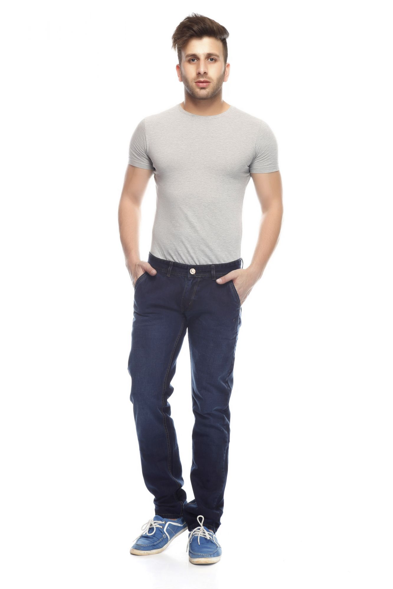 DS Blue Fashionable Regular Fit Faded Jeans
