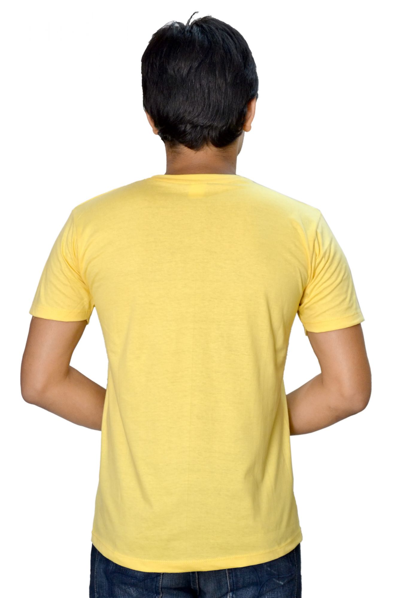 DS Yellow Cotton Printed Stylish Casual T-shirt