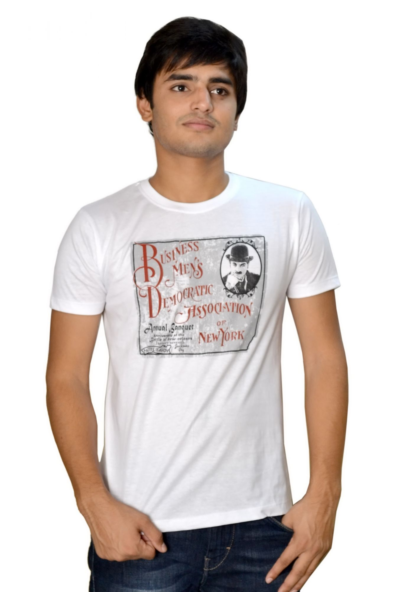 DS White Cotton Printed Stylish Casual T-shirt