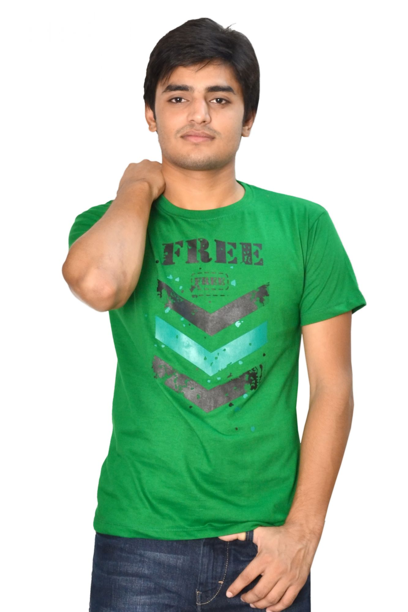 DS Dark Green Cotton Printed Stylish Casual T-shirt