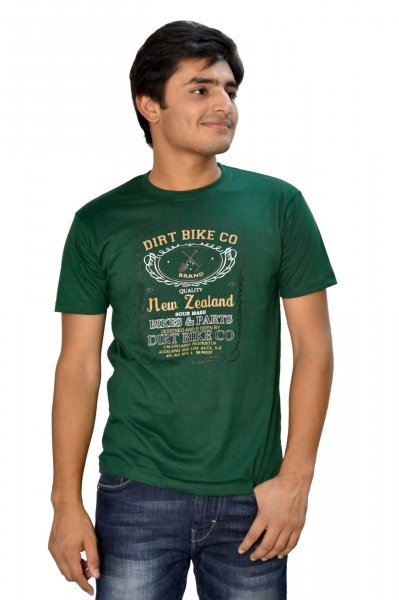 DS Green Cotton Printed Stylish Casual T-shirt
