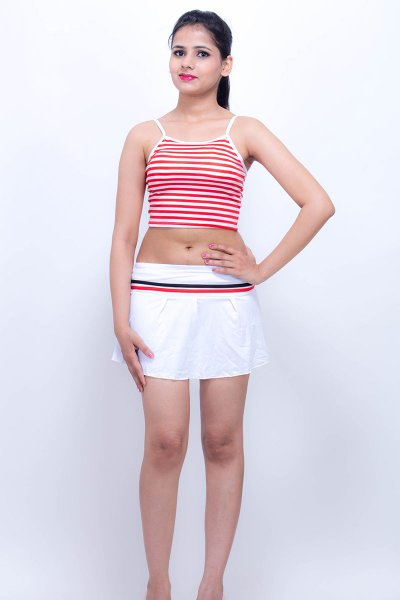 DS White & Red Stripe Fabulous Swimwear Costume