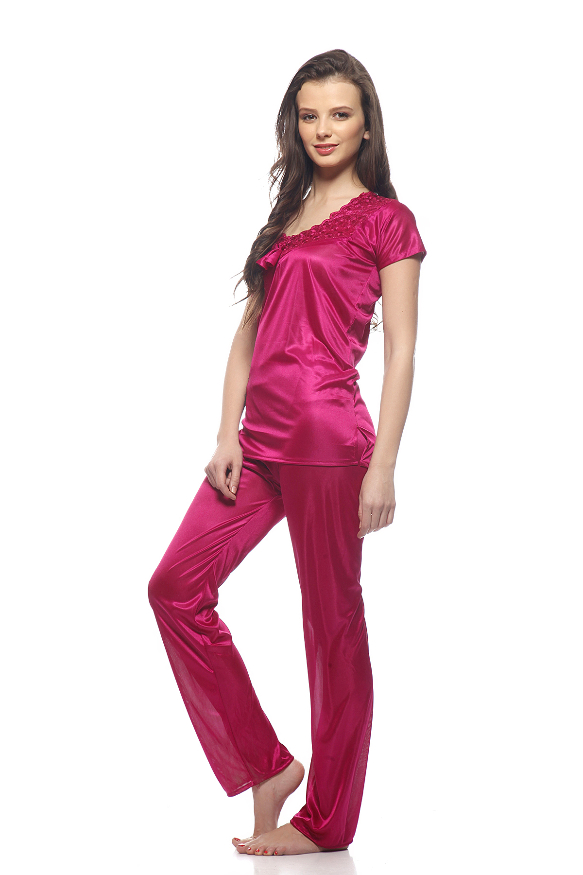 DS Solid Pink Stylish Regular Top & Pajama Set Nightsuit