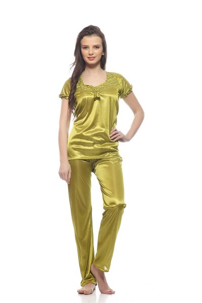 DS Solid Green Regular Top & Pajama Set Nightsuit