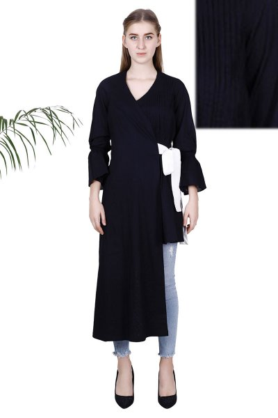 Black Cambric Fabric Latest Design Jacket For Women